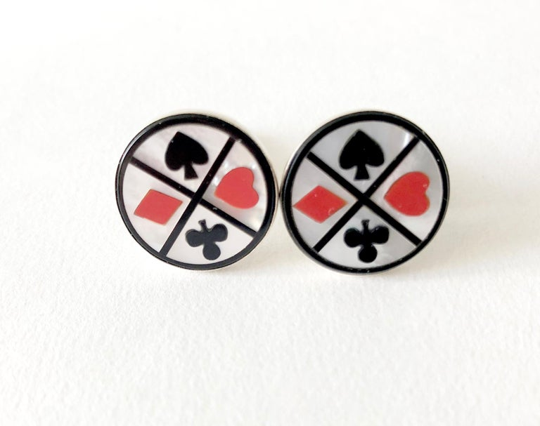 1960s Cecilia Sterling Silver Mother of Pearl Playing Card Suit Cufflinks In Good Condition For Sale In Los Angeles, CA