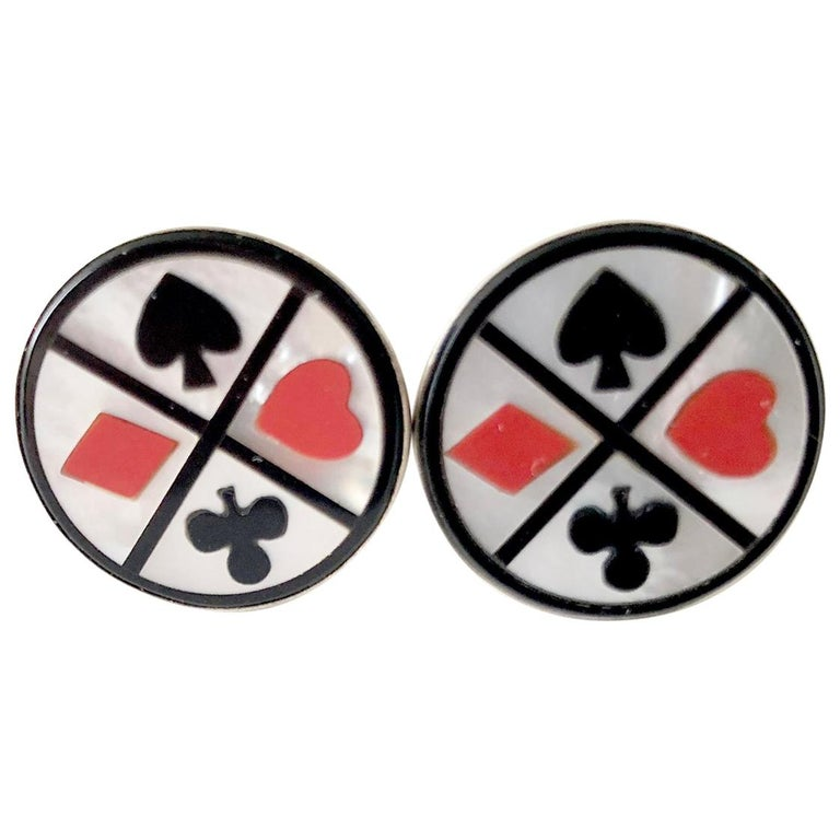 1960s Cecilia Sterling Silver Mother of Pearl Playing Card Suit Cufflinks For Sale