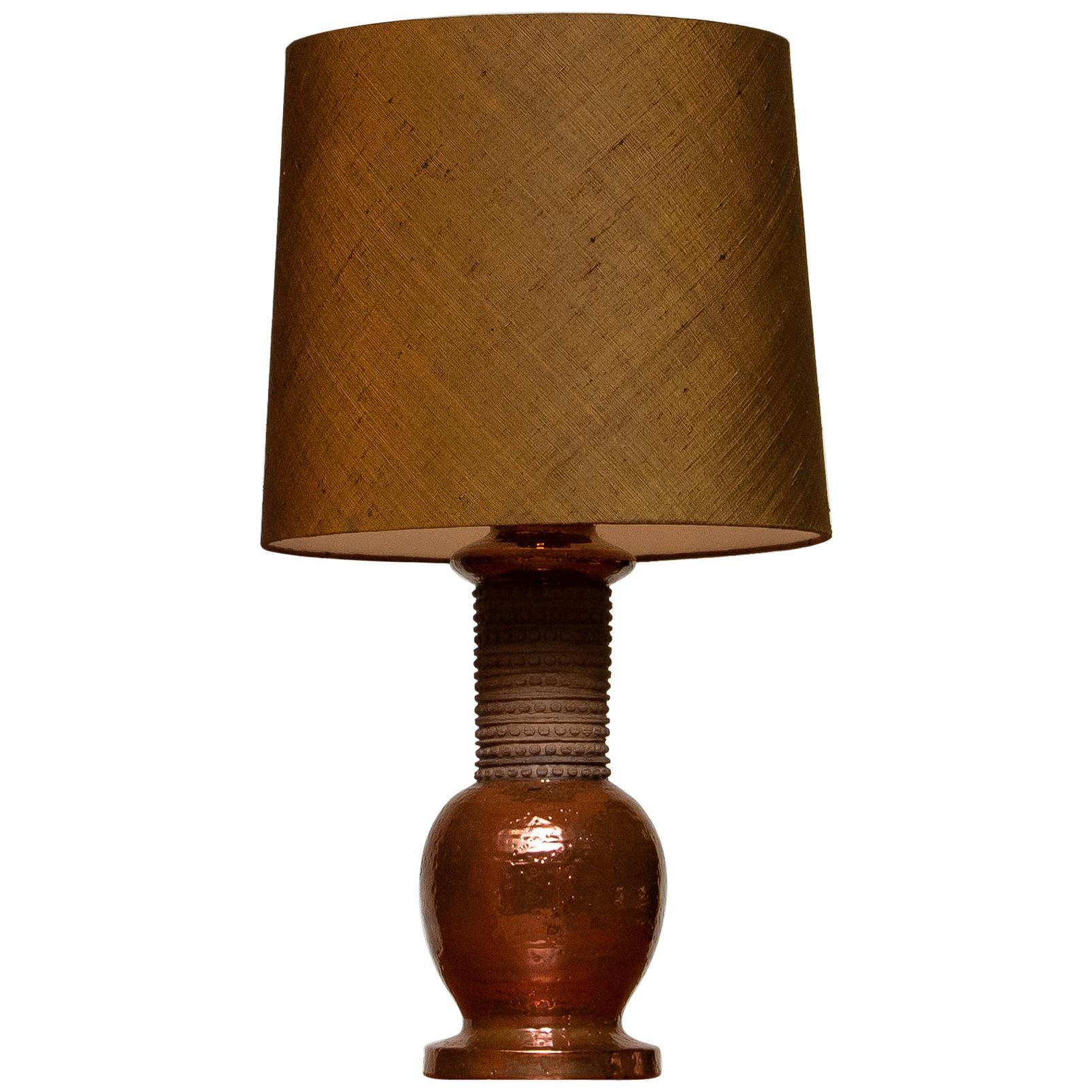 1960s. Ceramic And Copper Bitossi Italy Table Lamp For Bergboms Sweden 1