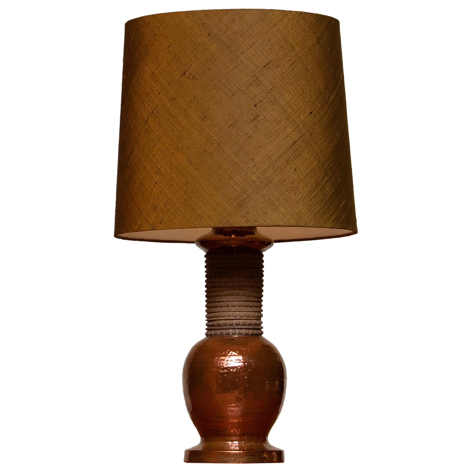 1960s, Ceramic and Copper Bitossi Italy Table Lamp for Bergboms, Sweden