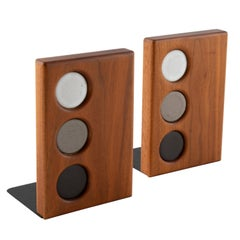1960s Ceramic and Walnut Bookends by Gordon and Jane Martz for Marshall Studios