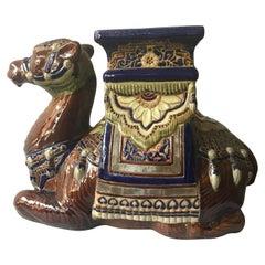 1960s Ceramic Camel Garden Seat/Side Table