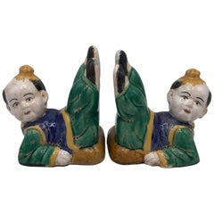1960s Ceramic Chinoiserie Asian Child Sculptural Bookends, Pair
