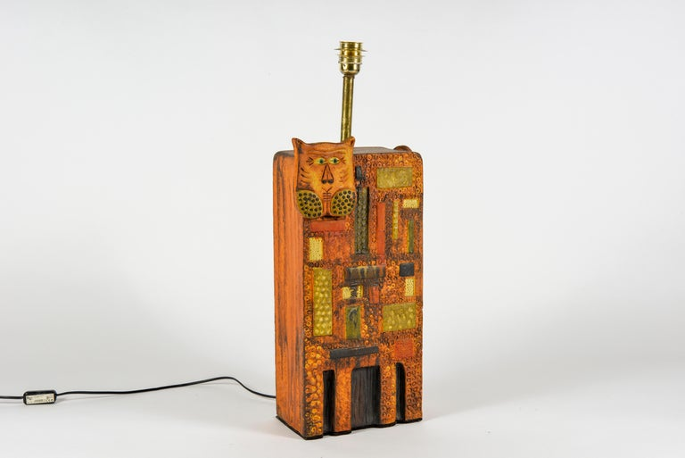 French 1960s Ceramic Lamp in the Style of Roger Capron For Sale