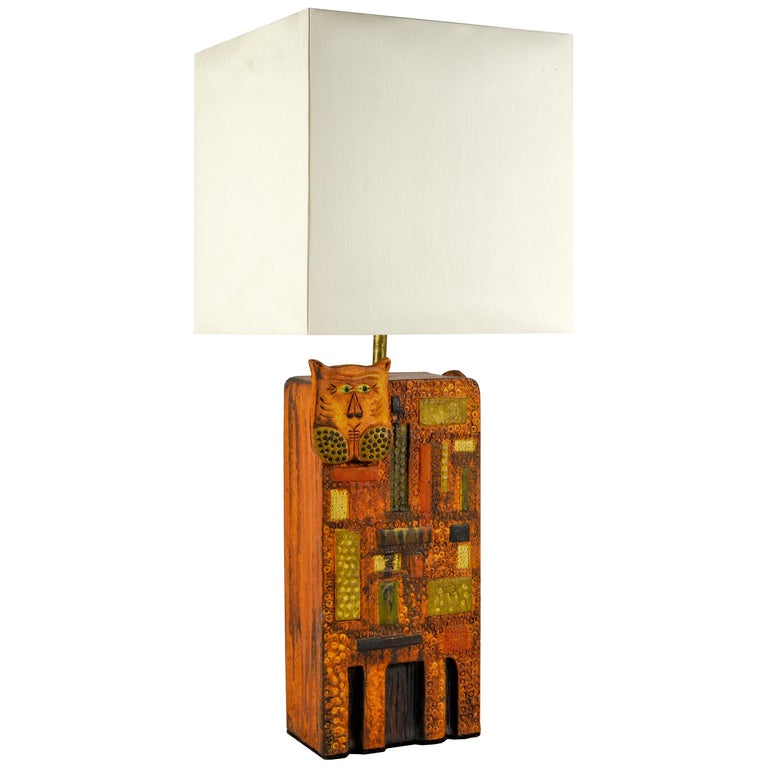 1960s Ceramic Lamp in the Style of Roger Capron For Sale
