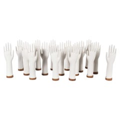 1960s Ceramic Rubber Glove Hand Moulds, Singles 'Red Base'