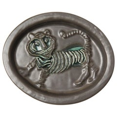 1960s Ceramic Tiger Plaque by David Gill