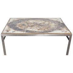 1960s Ceramic Tile and Metal Coffee Table by Birte Howard, Denmark