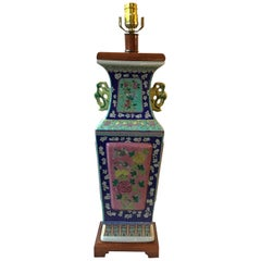 1960s Floral Hand Painted Ceramic  Colorful Asian Table Lamp
