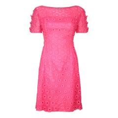 1960s Cerise Pink Crochet Dress by Janet Cotton