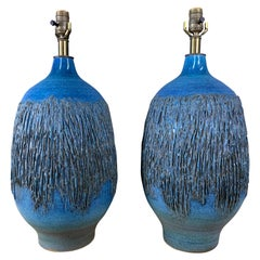 Design Technics 1960s Cerulean Blue Ceramic Table Lamps a Pair by Lee Rosen