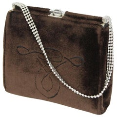 1960s Cesare Piccini Firenze Brown Velvet Evening Pure Bag