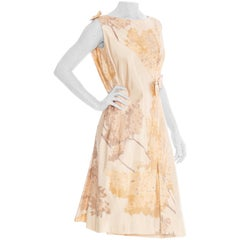 1960S Champagne Silk Printed Cocktail Dress From John Galliano's Archive