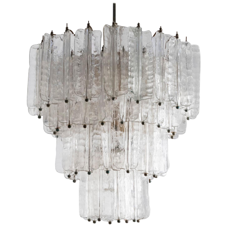 1960s Chandelier by Toni Zuccheri for Venini in Clear Murano Glass