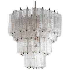 1960s Chandelier by Toni Zuccheri for Venini in Clear Murano Glass