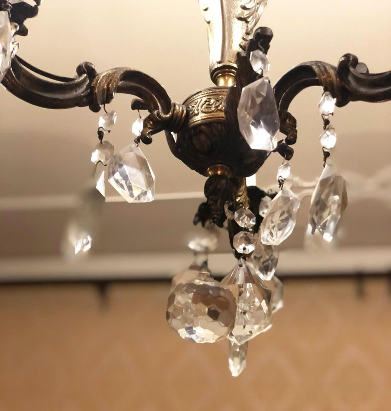 1960s Chandelier with Glass Pendants, Italy For Sale 3