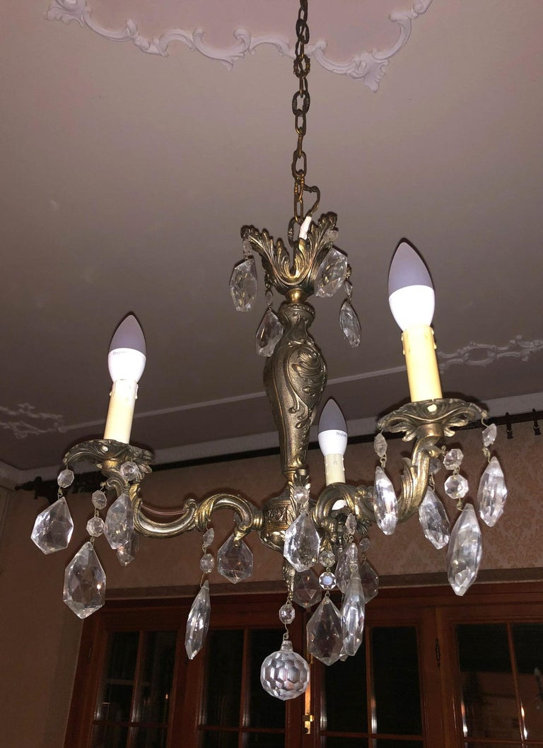 1960s Chandelier with Glass Pendants, Italy For Sale 4
