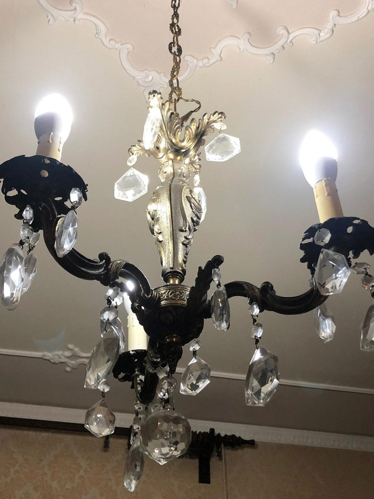 Country 1960s Chandelier with Glass Pendants, Italy For Sale