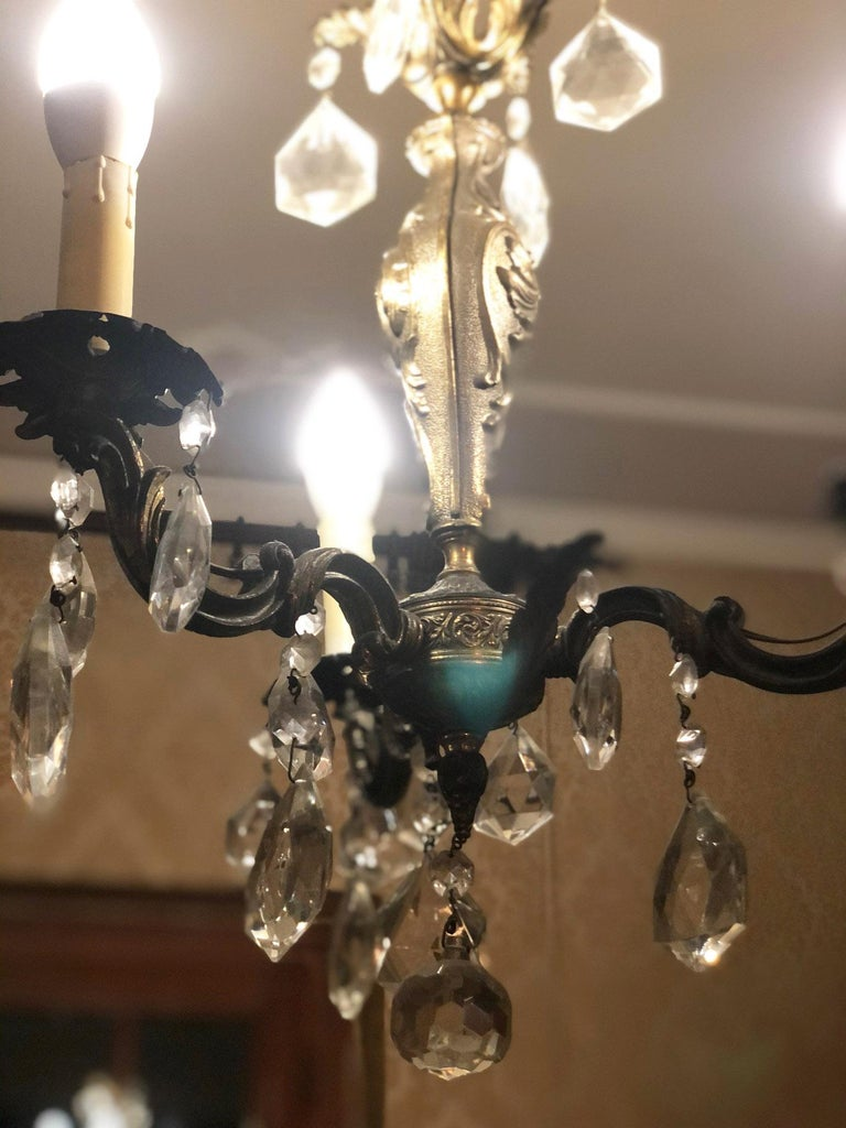 Italian 1960s Chandelier with Glass Pendants, Italy For Sale
