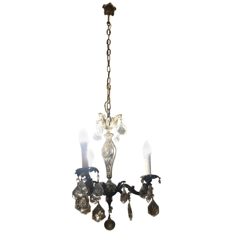 1960s Chandelier with Glass Pendants, Italy For Sale