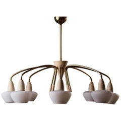 1960s Chandelier with Opaline Shades