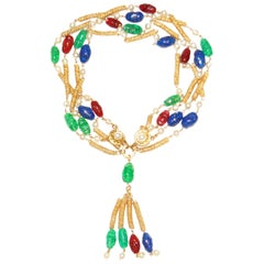 1960's Chanel Gripoix Four Strand Necklace with Tassel Drop