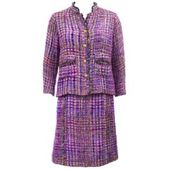 1960s Chanel Haute Couture Shocking Pink and Purple Boucle Suit