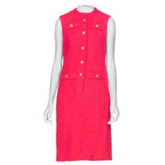1960's Chanel Style Boucle Hot Pink Mod Dress With US Marines Buttons