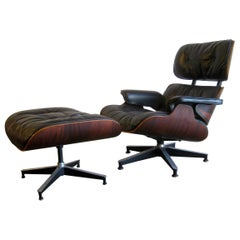 1960s Charles Eames Herman Miller 670 Rosewood Lounge Chair and 671 Ottoman