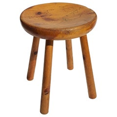 1960s Charlotte Perriand Design Les Arcs Resort France Pine Wood Stool