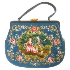 1960s Charming Needlepoint Hand Stitched Large Scale Artisan Handbag