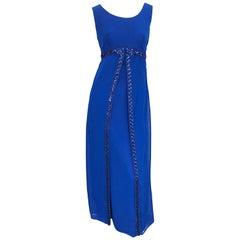 1960s Charmont Model Royal Blue Silk Chiffon Sequin Vintage 60s Maxi Dress Gown