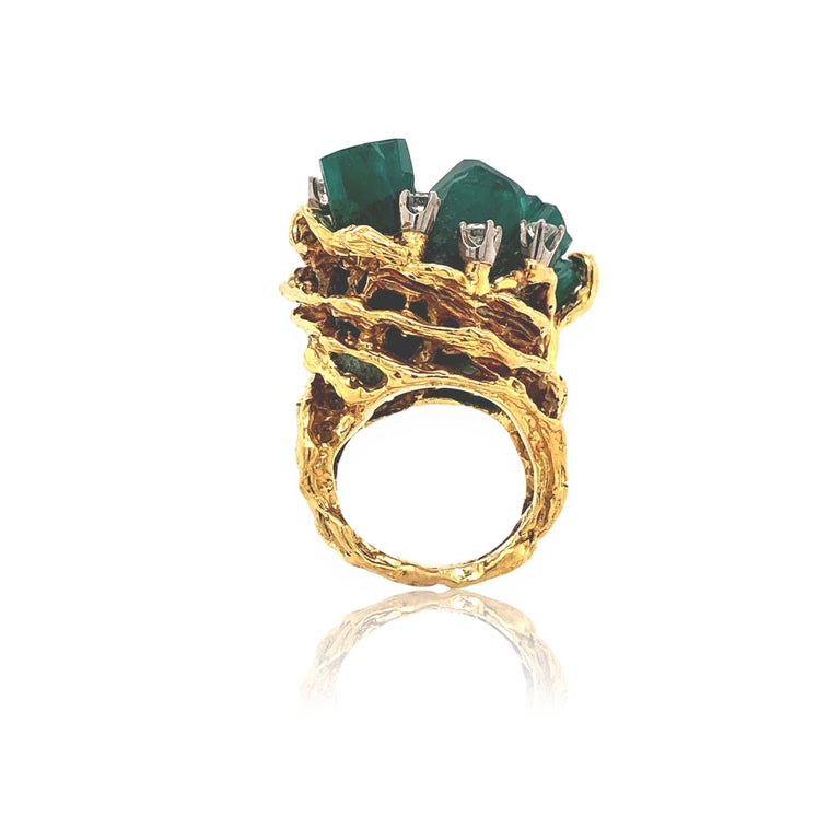 Modernist 1960s Chatham Rough Emerald and Diamond Ring For Sale