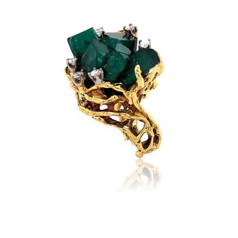 Brilliant Cut 1960s Chatham Rough Emerald and Diamond Ring For Sale