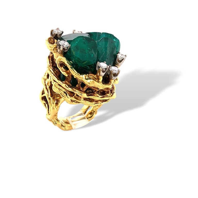 1960s Chatham Rough Emerald and Diamond Ring In Good Condition For Sale In Cincinnati, OH