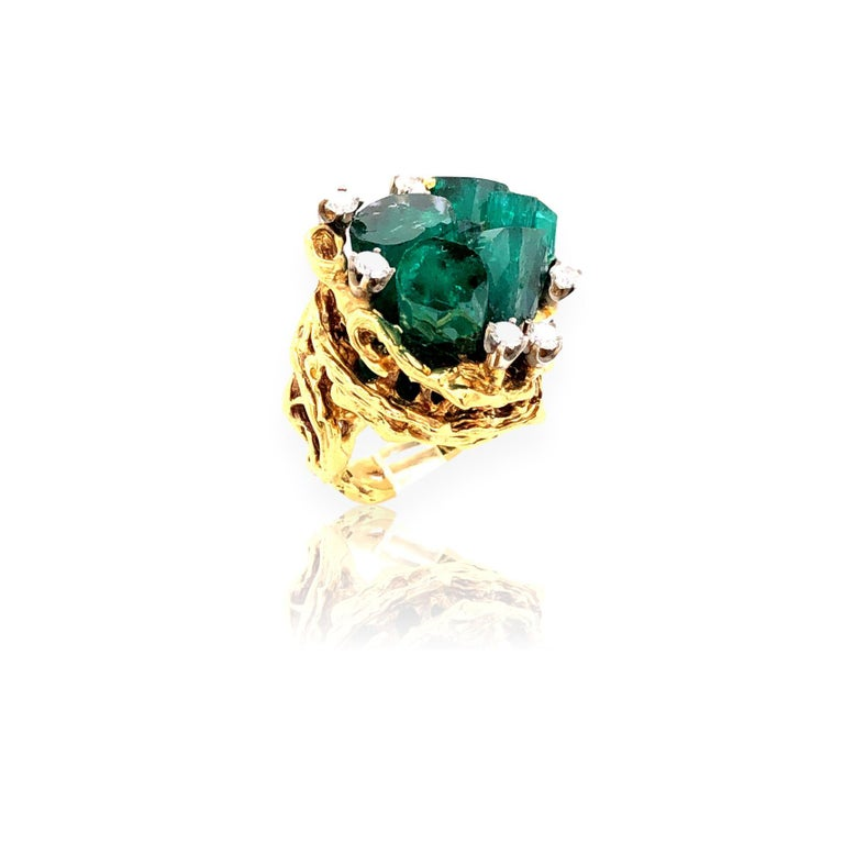 Women's or Men's 1960s Chatham Rough Emerald and Diamond Ring For Sale