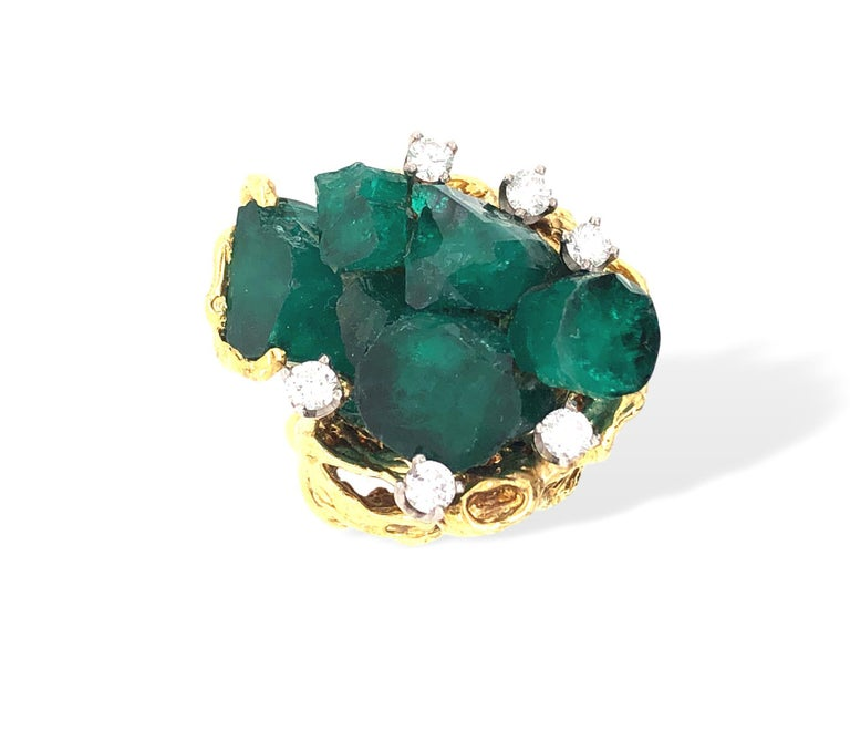 1960s Chatham Rough Emerald and Diamond Ring For Sale 1