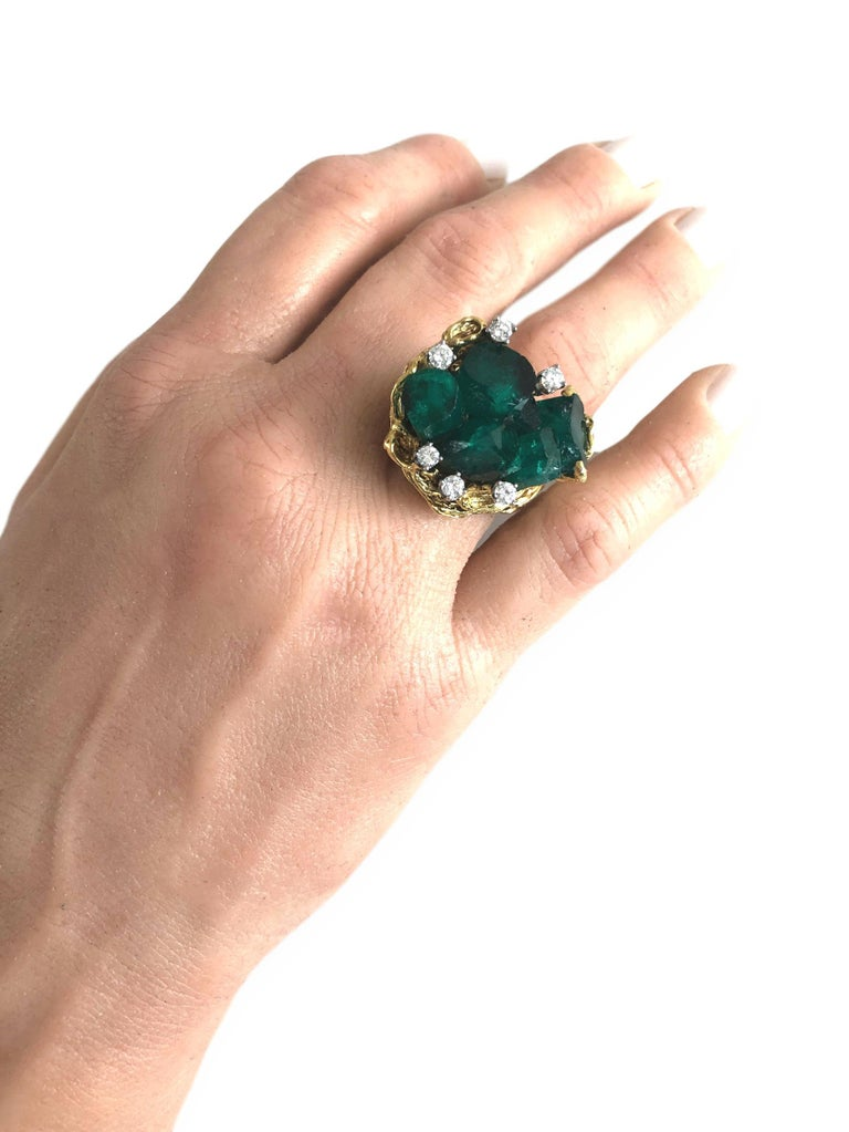 1960s Chatham Rough Emerald and Diamond Ring For Sale 2