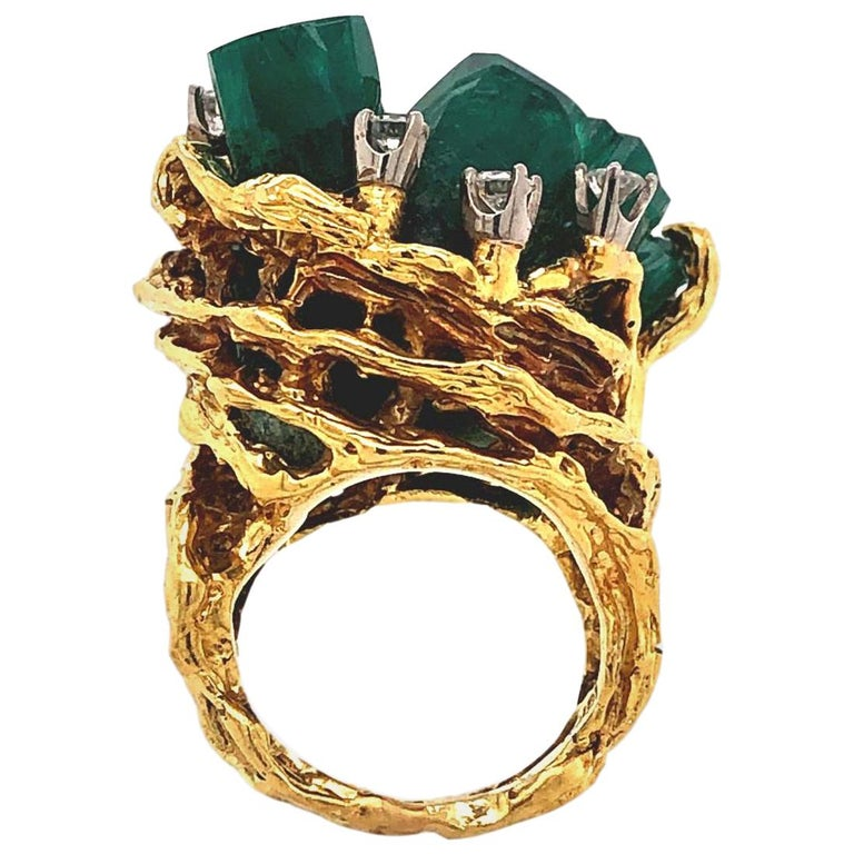 1960s Chatham Rough Emerald and Diamond Ring For Sale