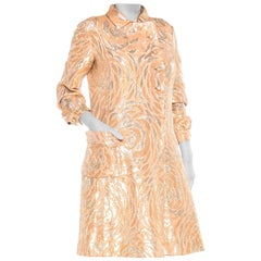 1960S Chester Weinberg Brocade Gold And Silver Coat Dress