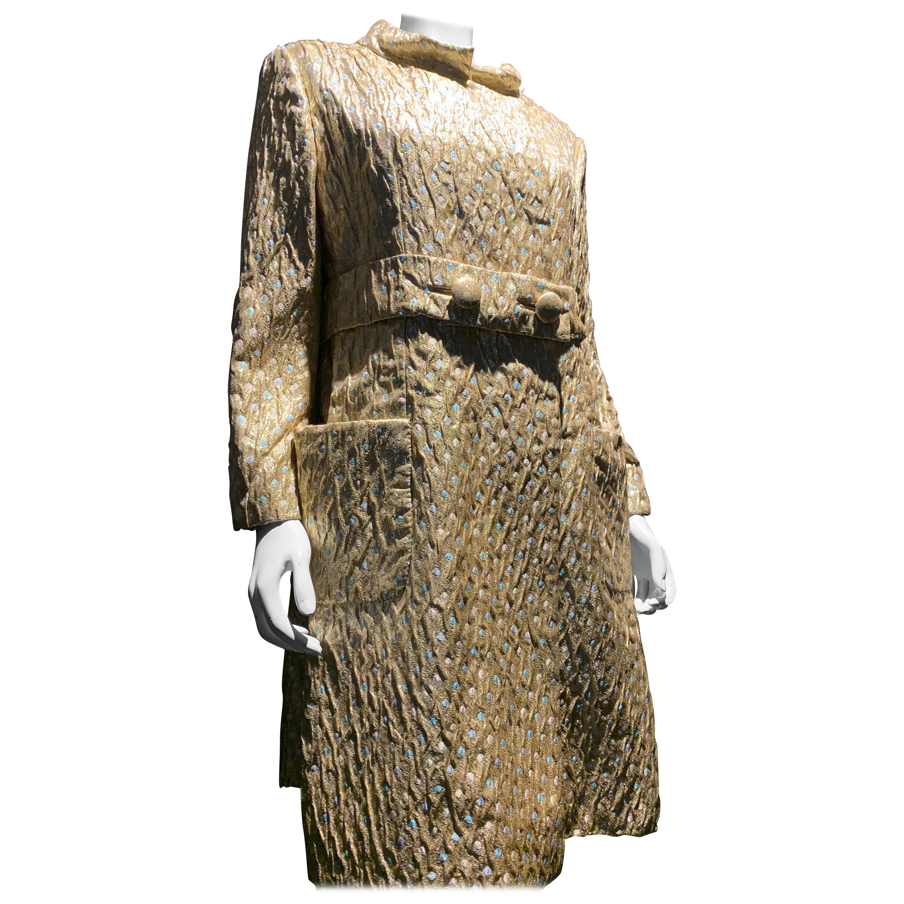 1960s Chester Weinberg Gold Lame and Pastel Brocade Evening Coat Ensemble