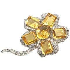 1960s Chic Citrine Diamond Flower Brooch