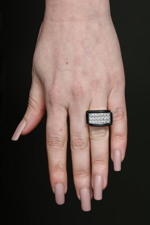 1960s Chic Geometric Diamond with Custom Cut Onyx Edges Gold Band ...