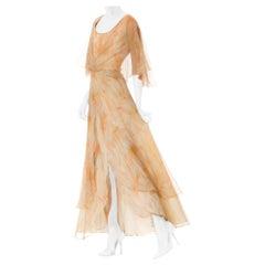 1960S Chiffon Mr.Blackwell Floral Printed Silk Layered Maxi Dress