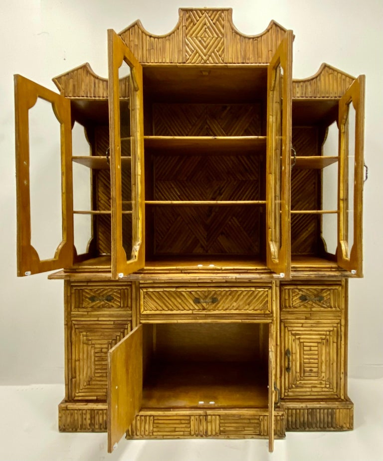 Philippine 1960s Chinese Chippendale Style Pencil Bamboo Cabinet For Sale