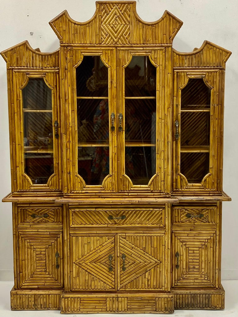 20th Century 1960s Chinese Chippendale Style Pencil Bamboo Cabinet For Sale