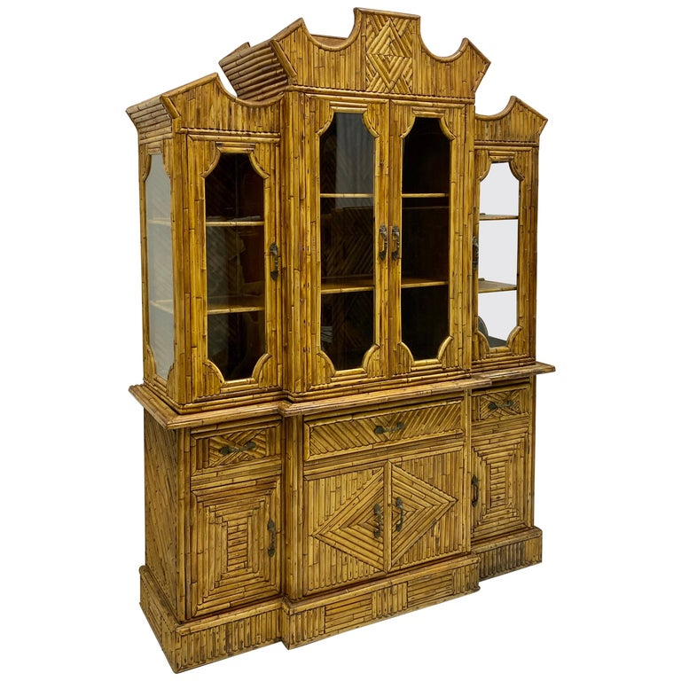 1960s Chinese Chippendale Style Pencil Bamboo Cabinet For Sale