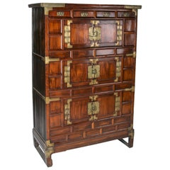 1960s Chinese Fruit-Wood 6-Door Cabinet with Bronze Hardware