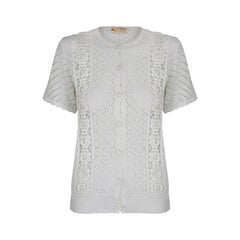 1960s Chinese White Crochet Knit Cardigan