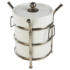 1960's Chinoisere Silver Plate Faux Bamboo and White Ice Bucket
